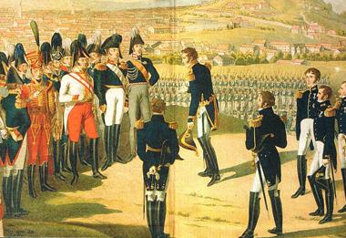 Раскрашенная литография «Кульминация правления Александра I: маршал Мармон вручает ключи от Парижа российскому императору».